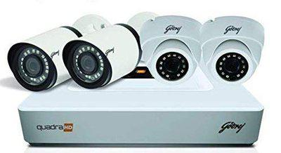 Godrej Security Solutions See Thru 4MP 4 Channel 2 Dome 2 Bullet Cameras with 1TB Hard Disk HD Full CCTV Camera Kit (White) (4MP4CH2D2B1HD)