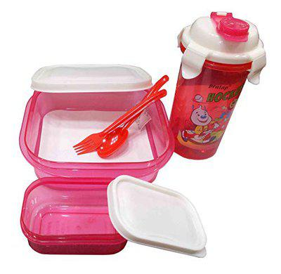 Kotak Sales Hungry Time Kids Cartoon Print Airtight 1000ML Lunchbox & Water Bottle Sipper 480ML Set with 160ML Container Spoon Fork Food Grade BPA Free Best Gift for Kids Birthday Party (Pink)