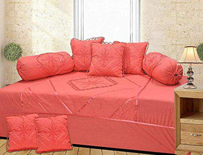 HomeStore-YEP Cotton Gajri Designer Embroided Diwan Set of 8 Pieces for Living Room Dining Hall (1 Single Bedsheet, 5 Cushion Covers, 2 Bolster - Set of 8)