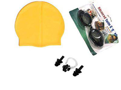 KAAS Complete Swimming Kit with Cap, Goggles and earplugs (Yellow)