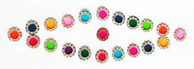 SJ Collection White Crystal Stone Round Shape Size (Per Bindi Height 9 mm x Width 9 mm) 22 Traditional Fancy Forehead Multicolor Bindi