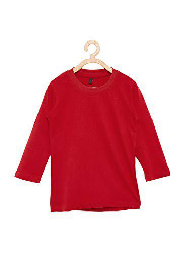 FirstClap Round Neck Full Sleeve Cotton Hosiery T-Shirt for Boys|Girls Red