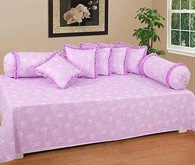 HomeStore-YEP Cotton Floral Designer Frill Diwan Set of 8 Pieces for Living Room Dining Hall (1 Single Bedsheet, 5 Cushion Covers, 2 Bolster - Set of 8), Purple
