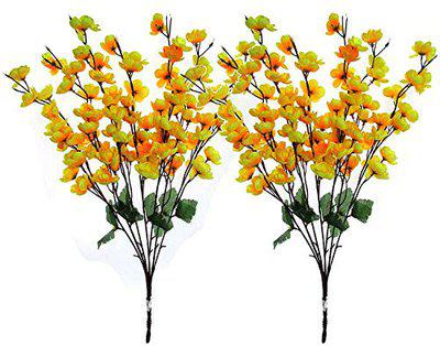 Loxiaa Artificial Yellow Blossom Bunch Home Decor Flower Pack of-2