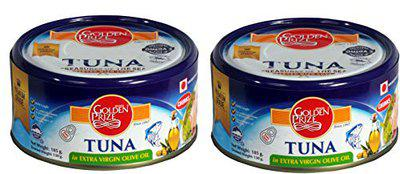 Golden Prize Tuna Chunk in Extra Vigin Olive Oil 185Gms Each - Pack of 2 Units
