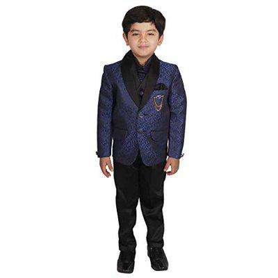 SGYUVRAJ Boys Polyester Partywear Coat Pant For Boys (UP-TP1040-RBLUE-7)
