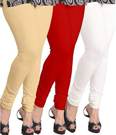 Aaru Collection Women's Cotton Ankle Length Leggings Combo (AC001, White, Beige and Red, Free Size)