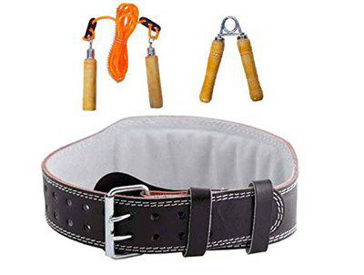 Monika Sports BRH 15 Weight Lifting Belt with Rope and Handgrip Set (Multicolour)