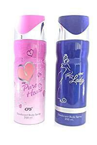 CFS Lady Deodorant Body Spray and CFS Pure Heart Pink Deodorant Body Spray, Combo of 2, 200ml. Each