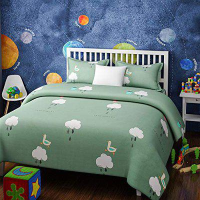 Urban Dream Kids Cotton Duck and Clouds Print Jade and White BEDSHEET Set (Single Bed)