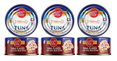 Golden Prize Tuna Sandwich Flakes in Oil with Red Chili 185Gms Each - Pack of 3 Units