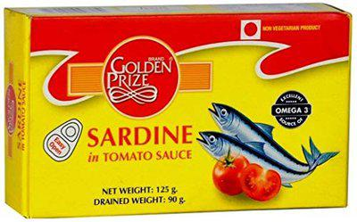 Golden Prize Sardine in Tomato Sauce 125 GMS Each - Pack of 4 Units