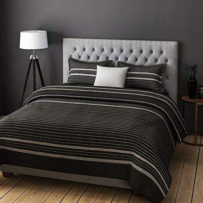 Urban Dream Fashion Cotton Abstract Stripes Print Black and Grey BEDSHEET Set (Double Bed)