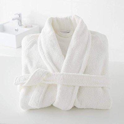 Divine Overseas - Double Sided Terry Premium Shawl Collar Higher Absorbency -100 Pure Cotton (Celestial Bathrobe S M, White)