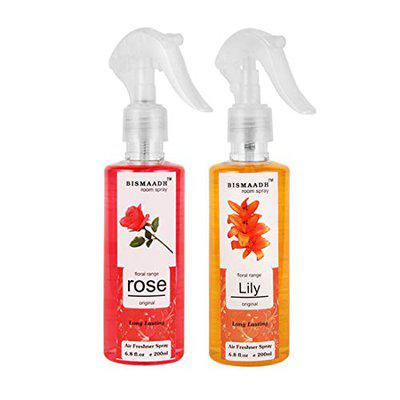 BISMAADH Baba Ji Rose and Lilly Flower Room Spray/Air Freshener Combo (200ML each) - Pack of 2
