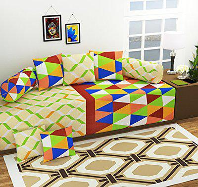 AEROHAVEN 140 TC Pure Cotton Designer Printed 8Pc Diwan Set(1 Single Bedsheet, 2 Bolster Covers, 5 Cushion Covers)