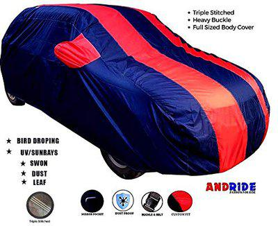 Andride Fabric Triple Stiched, Mirror Pocket Car Body Cover for Hyundai Eon (Red/Blue)
