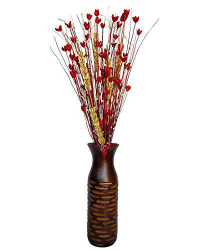 FreshKnots Designer Natural Dry Sticks with Filler Grass/Flowers for Home Decoration,Table Decoration etc. Assorted Dry Sticks Bunch (Golden n Red)