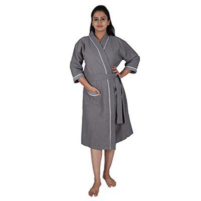 Aspire Hotel Collection Combed Cotton Waffle Checks Unisex Bathrobe, Kimono Collar, Full Sleeve, One Size Fits All, Grey