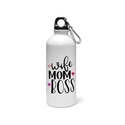 Madanyu Water Sipper Sports Bottle - Quotes Printed Aluminium 650ml - Gym Bottle Shaker - Wife Mom Boss Typography
