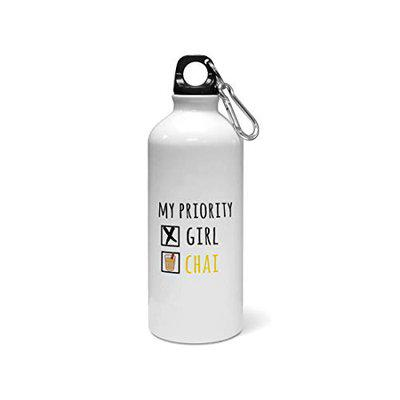 Madanyu Water Sipper Sports Bottle - Quotes Printed Aluminium 650ml - Gym Bottle Shaker - I Like Girl Or Chai Typographic Question