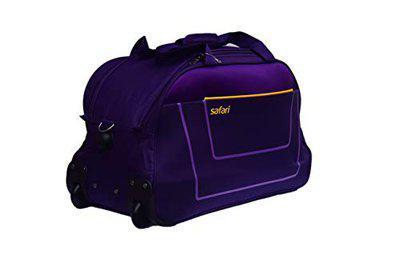 Safari Polyester Atom Soft Upright 2 Wheel Travel Rolling Duffle Bag for Men and Women (Purple, 53 x 27 x 32 cm)