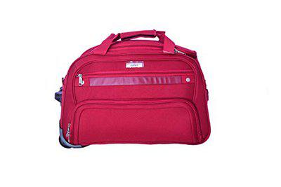 Safari Men and Women Polyester Red Power Soft Upright 2 Wheel Travel Rolling Duffle Bag (53 x 29 x 33 cm)