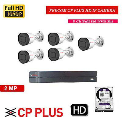 FEECOM CP Plus Full HD 8-CH NVR 2-MP 1080P Full HD IP Camera 5-PC BULLETCAMERA IP Camera Set