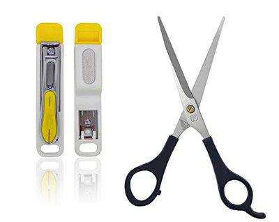 Majik Nail Clipper With Scissor For Saloon And Home Use Accessories Set Of 2 20 Gram Multicolor Pack Of 1