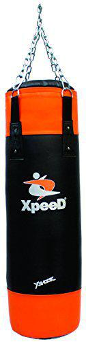 Xpeed Heavy Punching Bag Unfilled for Boxing Sparing Kickboxing Rough Tough Training (3 Ft & 4 Ft) with Hanger Chain Set (4 Feet)