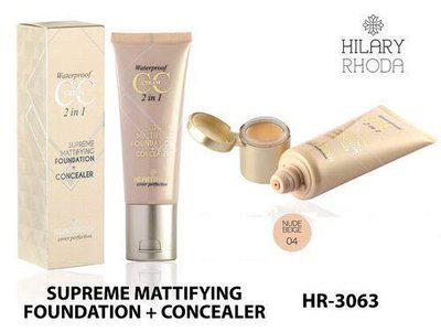 Hilary Rhoda waterproof cc cream 2 in 1 Supreme Mattifying Foundation + Concealer, for Personal- Nude Beige