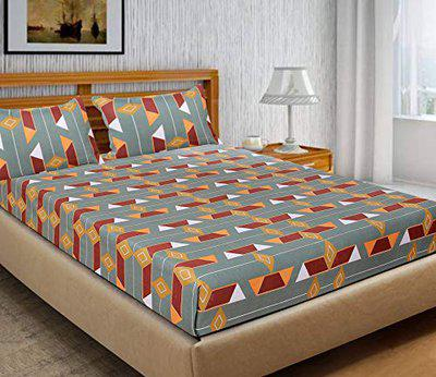 Braids Pure Cotton Bedsheet with 2 Pillow Covers-Multicolor, 215 cms x 225 cms