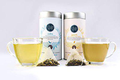 ChaiSpa Twinkling Dawn- NIDRA & SPOORTI by Teafloor |Green Tea for Weight Management | Tea for Active Day |Only Natural Ingredients |40 Green Tea Pyramid Bags