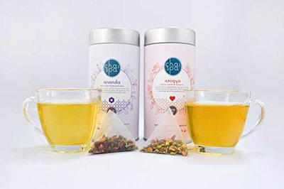 ChaiSpa Self Opulence- Ananda & AROGYA by Teafloor |Best Green Tea for Immune System |Green Tea for Calming of Mind and Body |Only Natural Ingredients |40 Green Tea Pyramid Bags