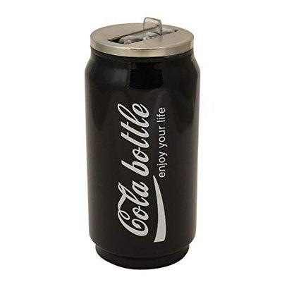 ALTG HOUZIE Cola Bottle 350 ML Stainless Steel with Sipper & Straw - (Pack of 1 Black)