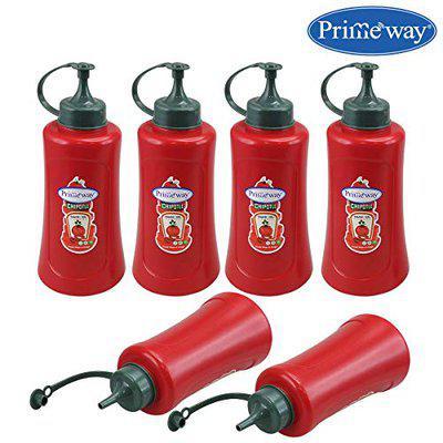 Primeway Plastic Condiments Sauce Ketchup Squeeze Bottle Dispenser, Big, 590 ml, Pack of 6, Red