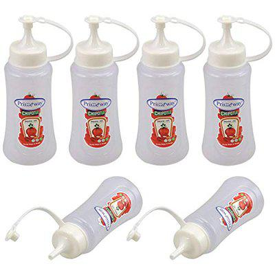 Primeway Plastic Condiments Sauce Ketchup Squeeze Bottle Dispenser, Small, 265 ml, Pack of 6, Clear