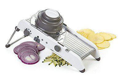 Luximal Multi-Purpose Adjustable Plastic Vegetable Grater Stainless Steel Mandolin Slicer with Holder