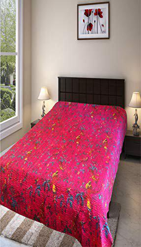Vermilion Lifestyle Kantha Work Bedcover/AC Quilt. Pure Cotton. Single Bed. Handmade