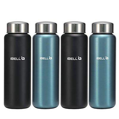 iBELL SW75 Stainless Steel Water Bottle, 750ML, Set of 4, Black And Blue