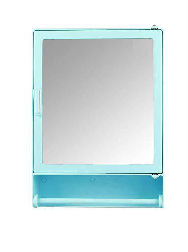 Epraiser ABS Unbreakable Z-GM 103 Bathroom Mirror Single Door Cabinet with Storage Chest/Shelves with Outside Rod,16X4X12 Plastic Wall Shelf (Blue)