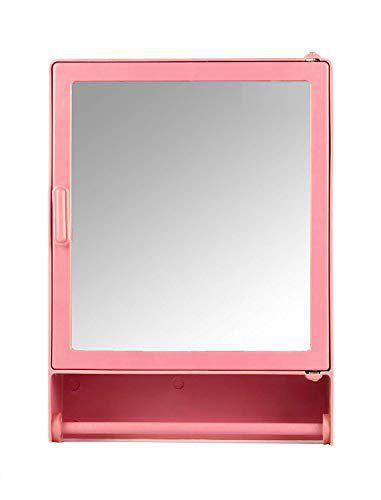 Epraiser ABS Unbreakable Z-GM 103 Bathroom Mirror Single Door Cabinet with Storage Chest/Shelves with Outside Rod,16X4X12 Plastic Wall Shelf (Pink)