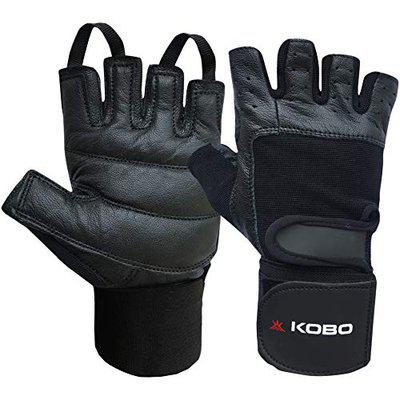 Kobo WTG-02-BLACK-XL Leather Weight Lifting Gym GlovesXL (Multicolour) with Wrist Support
