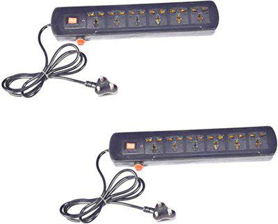 NXTPOWER 6 Socket Extension Surges Spikes Extension Board (Pack of 2, Black)