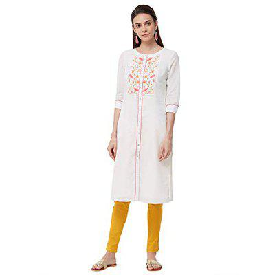 NAARI Off White 3/4th Sleeves Embroidered Cotton Kurti For Women's