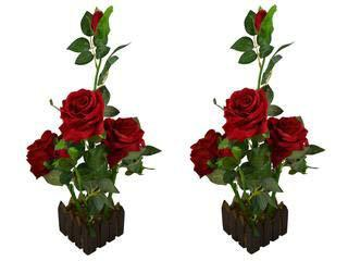Loxiaa Artificial Beautiful Arrangement Red Rose Flower with Brown Pot Home Decor Pack of-2