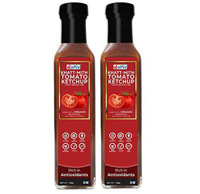 d alive Sugar-Free, Organic, Low Carb, Ultra Low GI, Diabetes and Keto Friendly Khatt-Mith Tomato Ketchup Tasty, Nutrient-Rich and Healthy Sauce, 280 g - Pack of 2