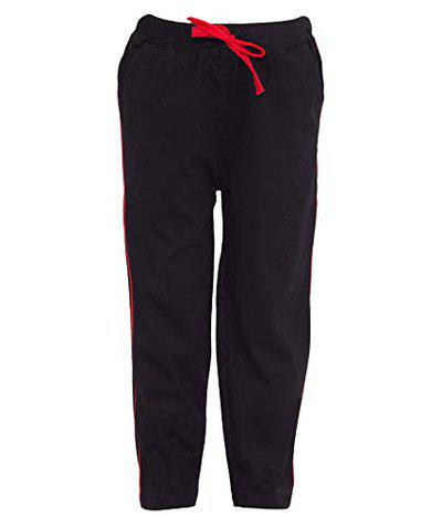 Haoser Regular Fit Boys Solid Black Cotton Kids Track Pant with Pocket H-B-KLW-3_85 (10-11 Years,Black) Pack of 1