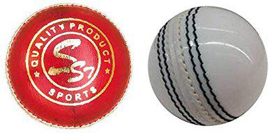 SST Leather Cricket Ball Red with Cricket Leather Ball White, 4 Pieces