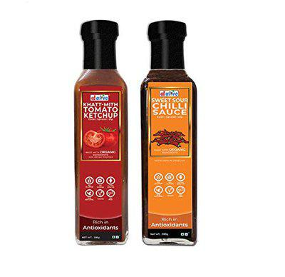 d alive Organic, Low Carb, Vegan, Diabetes and Keto Friendly Dipping and Cooking Khatt-Mith Tomato Ketchup Sauce, 280 g and Sweet Sour Chilli Sauce, 280 g